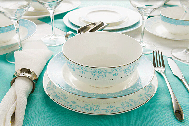 Bone china dinnerware set u2013 Light Blue & Bone china dinnerware set - Light Blue- Bone china product exporter