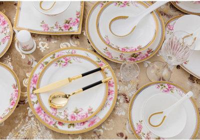 Tag. bone china dinnerware. bone china plates with flower decoration and gold rim & bone china dinnerware Archives - Fine Bone China Products ...