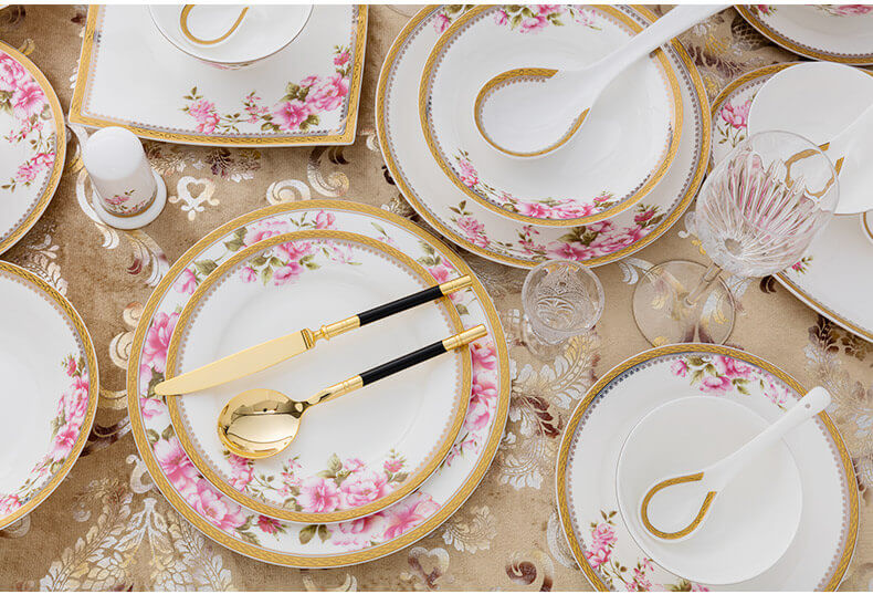 40 pieces bone china tableware bone china plates with flower decoration and gold rim bone china dinner set ... : china plates set - pezcame.com
