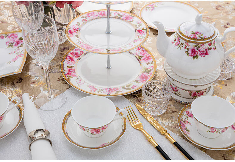 high end bone china tea set ... & 13 Pieces High Quality High Gold Rose Decorated Bone China Tea Set