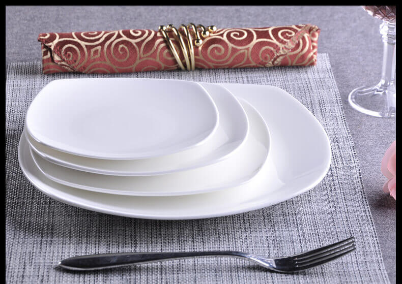 White Bone China Square Dinner Plates 10 inch 8 inch Wholesale