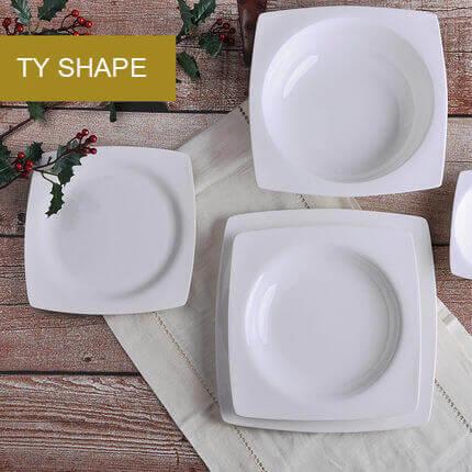 & White Bone China Square Plates Wholesale TY Shape
