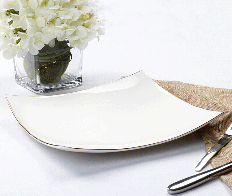 hotel white plate with gold line decoration bone china square plates High- end ...  sc 1 st  What is Bone China? & High-end Hotel Tableware - Bone China Tableware - 5 Star Hotel Choice